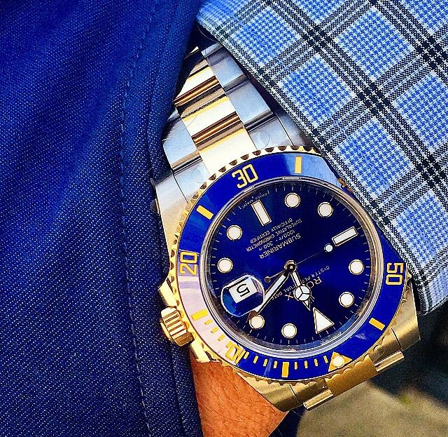 Rolex Submariner in two toned Blue SS and YG from pinterest